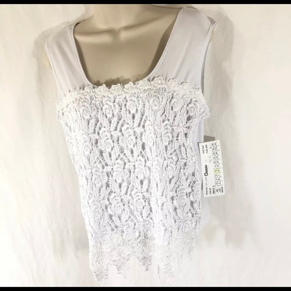 963cccb24d46c Channa Lace Overlay Tank Top Camisole White Sz XL